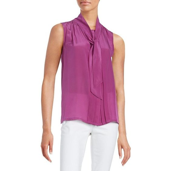 Weekend Max Mara Front Tie Pleated Blouse ($195) ❤ liked on Polyvore featuring tops, blouses, purple, pleated blouse, purple button down blouse, pleated sleeveless top, pleated top and weekend max mara