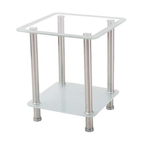 Square Glass Side Table Double Storage Desktop Living Room Bedroom