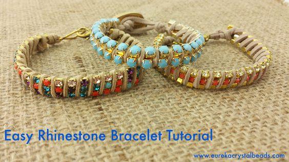 rhinestone cup chain bracelet diy tutorial easy simple beginners eureka crystal beads