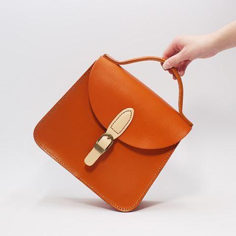 Back Leather Satchel Bag Structured