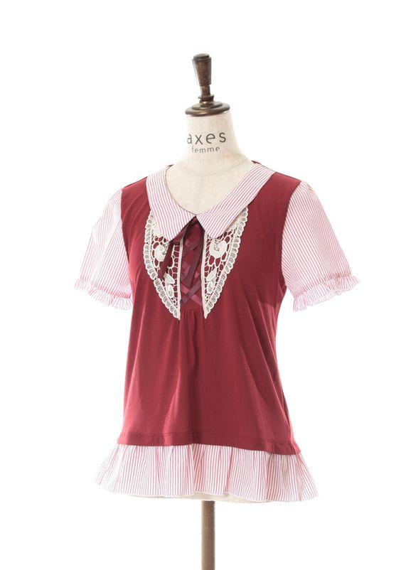 axes femme online shop|柄異素材使い襟付きプルオーバー