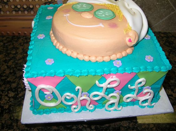 Another Spa Cake - These types of parties are becoming quite popular for little girls!  This order used colors to match the Ooh-La-La party them.