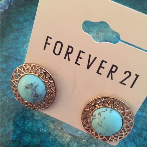 NWT earrings from Forever 21 BRAND NEW earrings from Forever 21. Turquoise and gold features. Comes with original packaging Forever 21 Jewelry Earrings