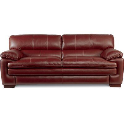 La Z Boy Dexter Leather 91 Pillow Top Arms Sofa Fabric Red In