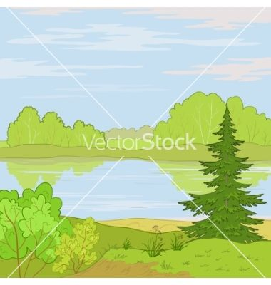 Landscape+forest+river+vector+541159+-+by+oksanaok on VectorStock®