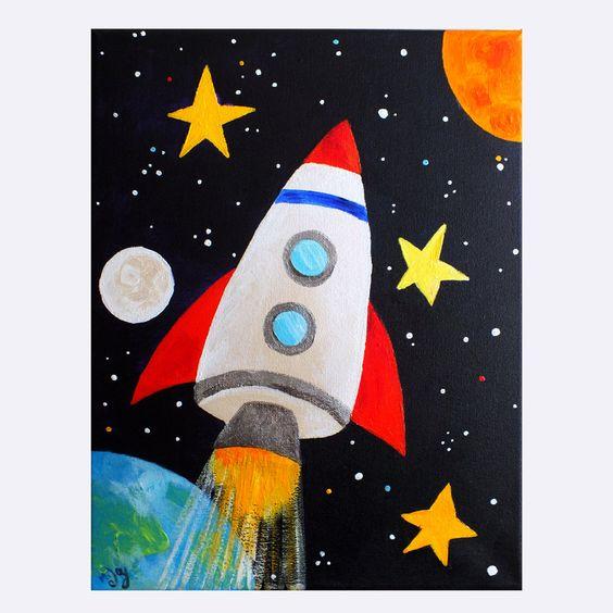Space Art for Kids  ROCKET BLAST OFF No.2,   11x14 Canvas Painting   by nJoyArt via Etsy