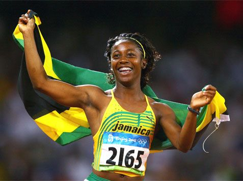 Jamaican Sprinter Shelly Ann Fraser Wins Gold, Jumps For ...