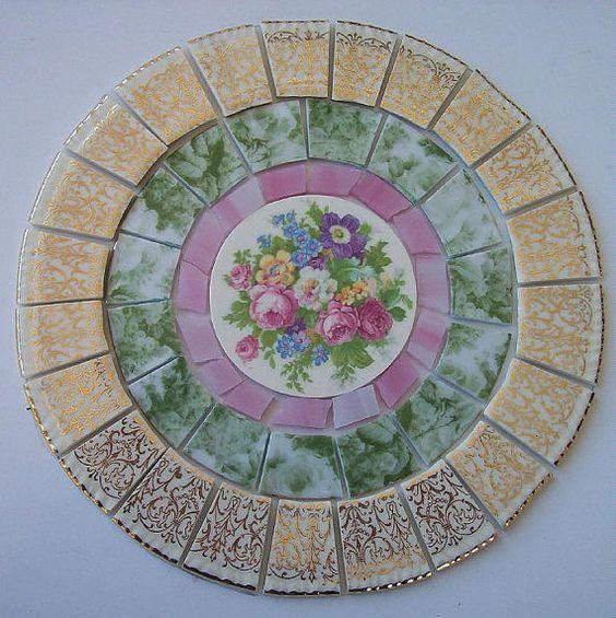 "China Mosaic Tile Set 6 1/4"" Arrangement Design Shabby"