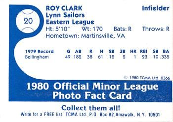 1980 TCMA Lynn Sailors #20 Roy Clark Back