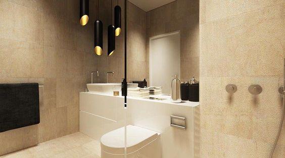 gold lined black pendant lighting cluster for the bathroom  Bathrooms  Pinterest  Pendant ...