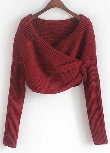 Knitting Wool V Neck Wrap Pullover