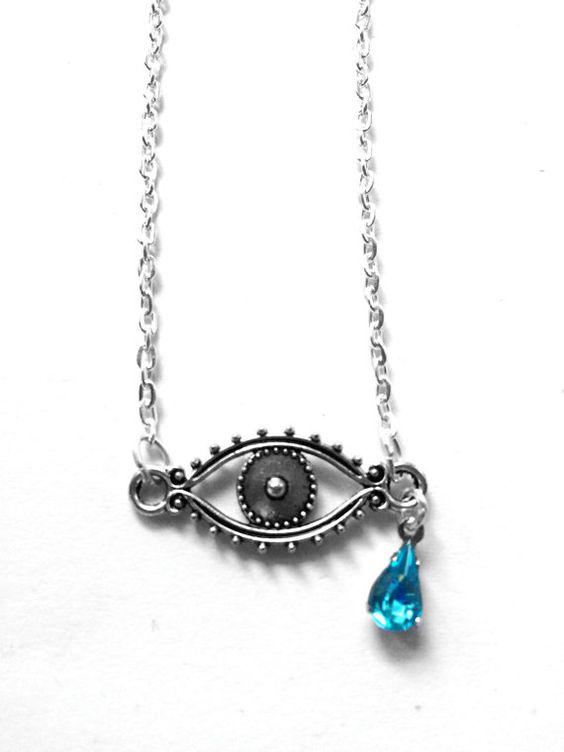 Crying Eye Teardrop Jewel Necklace por glowwormshop en Etsy