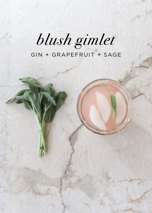 It's Friday, which means we're well overdue for a craft cocktail around  here. Today I'm sipping on the Blush Gimlet - the sweet, tangy, and  herbaceous cousin of the classic Gimlet. If you're looking for a lighter  drink for summer days, try topping this one off with sparkling water for a  blushing treat.  blush-gimlet Blush Gimlet  1.5 oz gin  2 oz fresh grapefruit juice  fresh sage leaves  Muddle sage leaves at bottom of glass. Shake gin + grapefruit juice and  pour over sage + ice. Top…