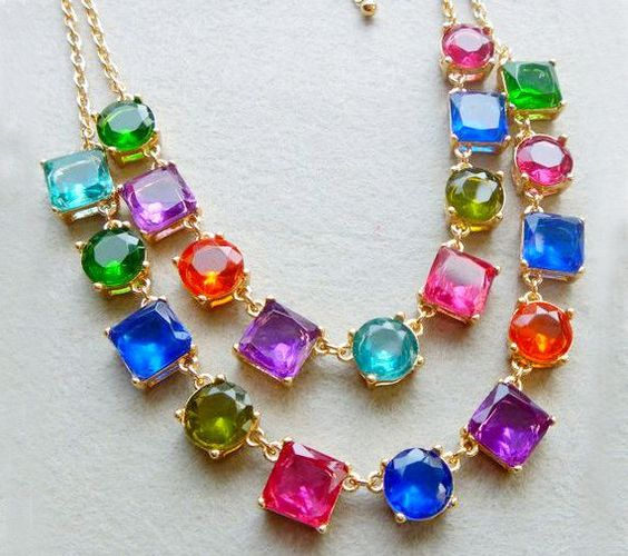 Adore Necklace - Colorful jewel gems bubble necklace, crystal beadwork statement necklace, bridal party necklace