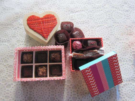 Ideias de embalagens românticas para chocolates caseiros