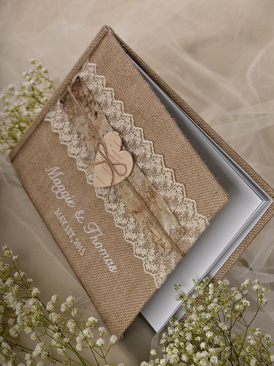 Burlap Natural Birch Bark Wedding Guest Book Rustic