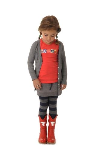Br@nd mooie meisjes outfit grijs rood. Cool girls outfit grey red