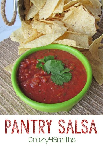 Pantry Salsa is our families favorite salsa. It reminds me of the salsa at my favorite Mexican restaurant but it can be made at home with pantry staples in just minutes! - Crazy4Smiths: