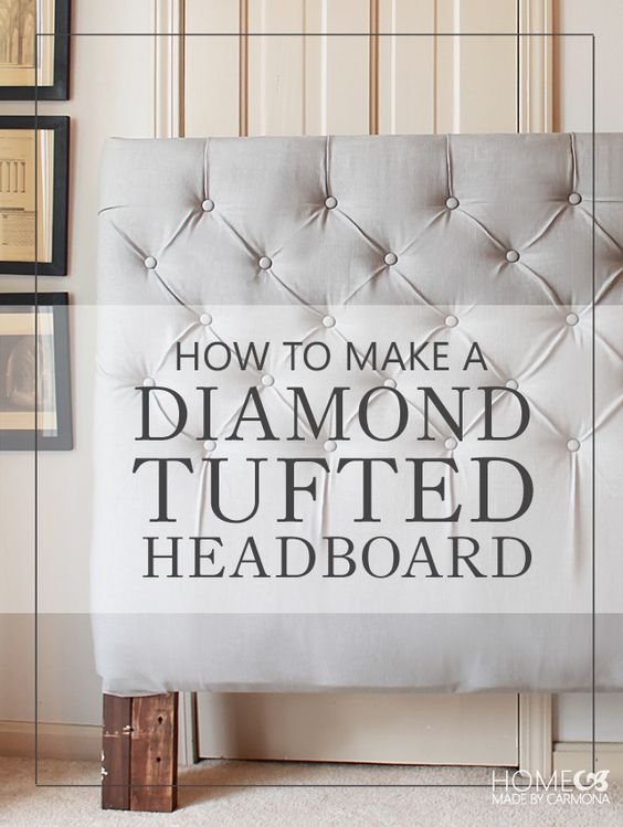"""make a diamond-tufted headboard: Here's what you'll need:  Old headboard frame & salvaged boards Egg crate foam mattress topper (Twin sized. Even for a King headboard) Fabric of choice Button covering kit (3/4"""" buttons) (I used 37 individual buttons) Regular buttons Upholstery twine / hemp cord / waxed twine Gorilla glue VIA @hmcarmona"""
