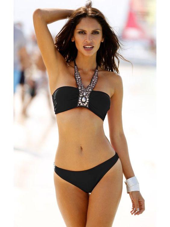 Bikini bandeau negro con aplicaciones halter: