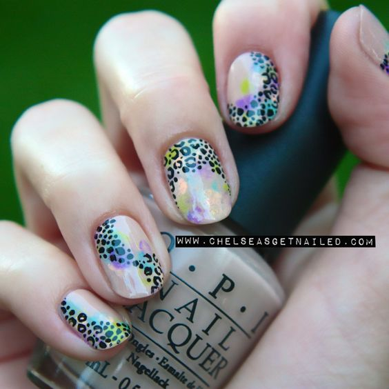 Watercolor Leopard Nails www.chelseasgetnailed.com