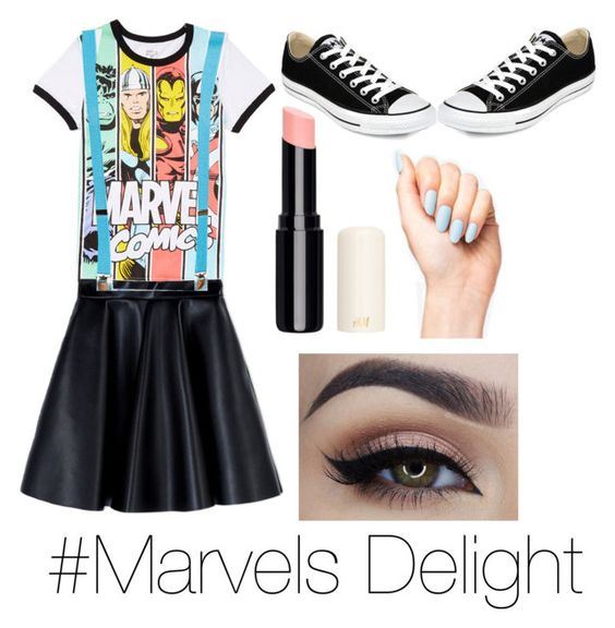 street style by coolcrazykaylin on Polyvore featuring polyvore fashion style Marvel MSGM Converse women's clothing women's fashion women female woman misses juniors