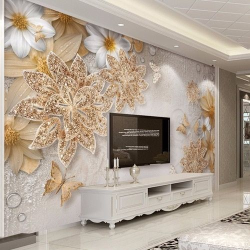 Custom Mural Wallpaper For Bedroom Walls 3d Luxury Gold Jewelry Flower Butterfly Background Wall Papers Home Decor Living Room Room Wallpaper Decor Wall Wallpaper
