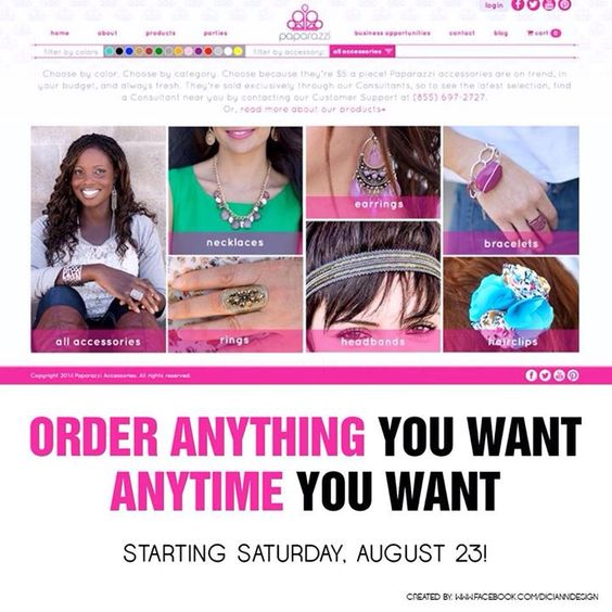 Great news!!!! You can now order and have parties online!!! Www.paparazziaccessories.com