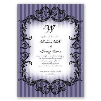 French Flourish #WeddingInvitation at Invitations By David's Bridal.Pictured in Lapis, but available in 4 additional colors. #davidsbridal #invitation