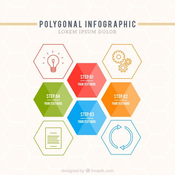Polygonal infographic template Free Vector | 차트 | Pinterest ...