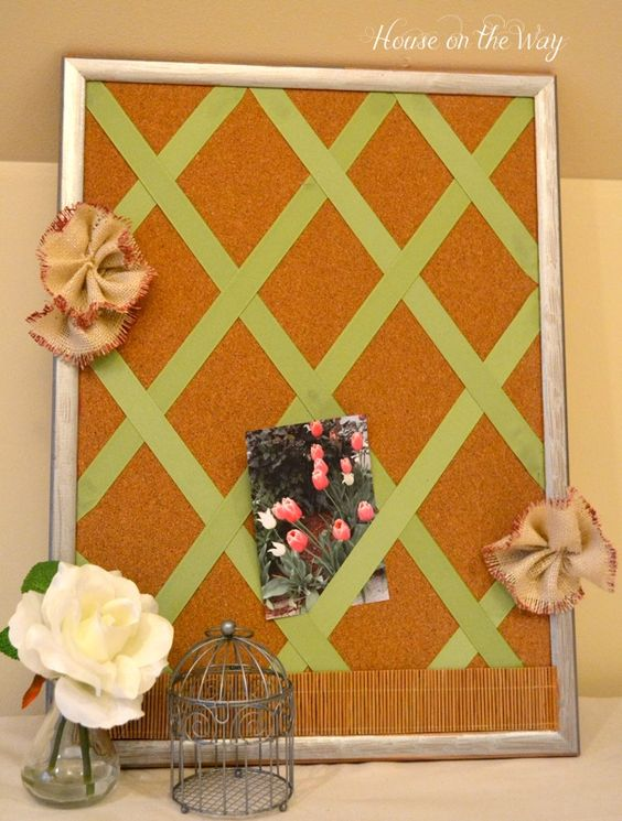Ribbon cork board craft gardens crafts and the o 39 jays for Design your own cork board