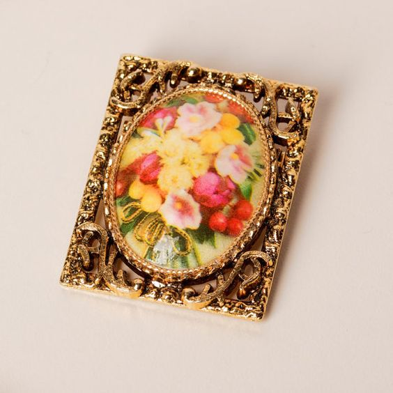 Vintage Floral Brooch Pendant by TwiceBakedVintage on Etsy, $15.00