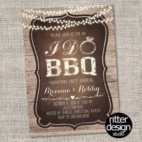 Rustic I Do Barbecue BBQ Engagement Party by RitterDesignStudio
