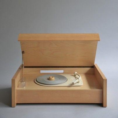 braun wooden record player. sleek.