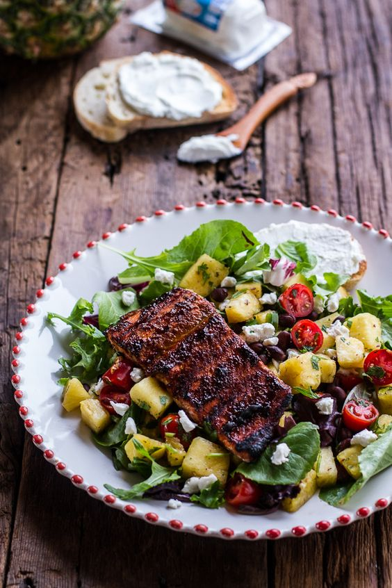 Caribbean Jerk Salmon with Curried Pineapple and Goat Cheese Salad