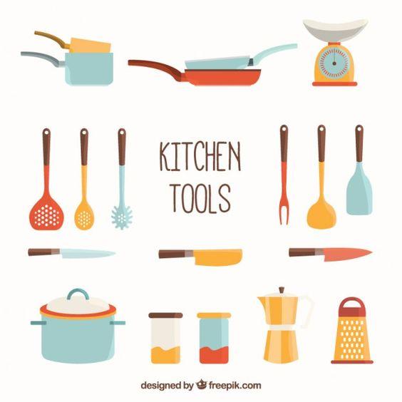 Colecci n de herramientas de cocina vector gratis for Utensilios alta cocina