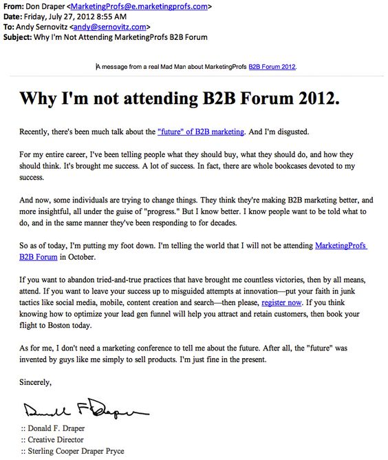 Using Don Draper in an unorthodox way to market this B2B event!
