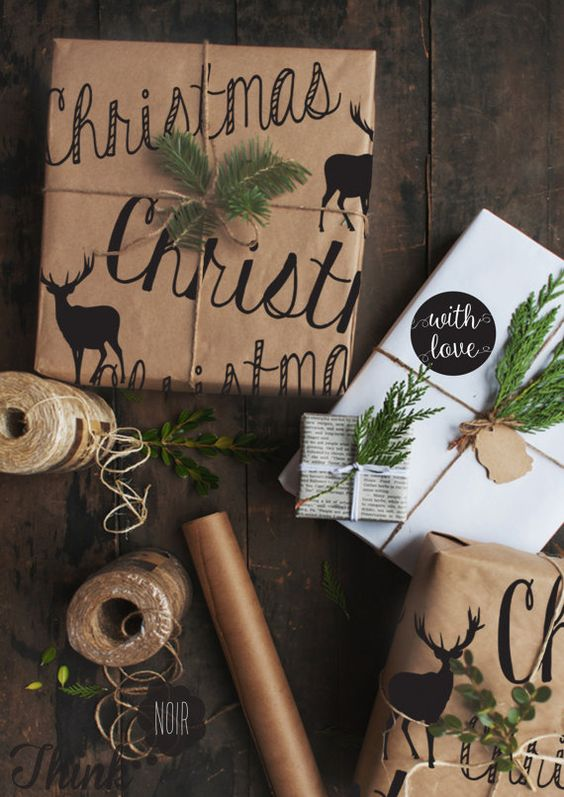 Christmas wrapping made from brown paper stencilled with reindeers, using twine and pine leaves - looks great on your Christmas gifts!