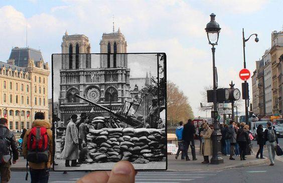 Paris imagem de sobreposições pelo fotógrafo francês Julien Knez, mostrando Paris na década de 1940 em um cenário de como vemos os mesmos lugares hoje.