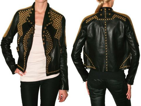 Handmade Punk Black Golden Studded Punk Cowhide Leather Jacket For Women In 2020 Leather Jackets Women Studded Leather Jacket Leather Jacket