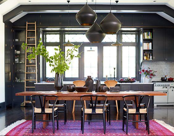 Designer Spotlight – Jessica Helgerson - industrial style dining room - love the striking charcoal pendant lights, very dark kitchen