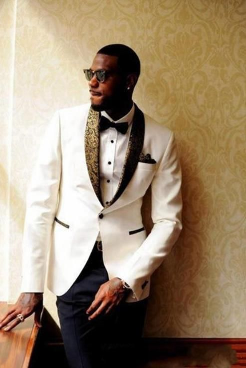 Men/'s Groom White Dinner Tuxedos Shawl Lapel Groomsman Prom Party Wedding Suits