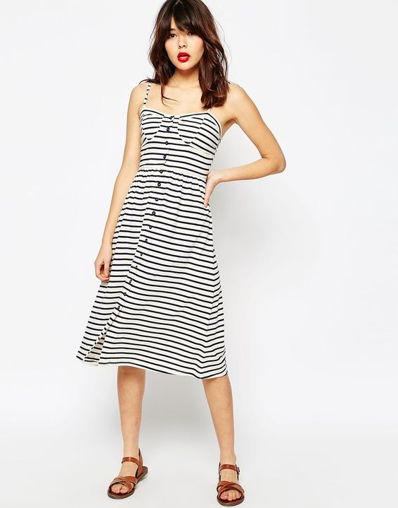 Image 1 ofASOS Midi Sundress In Stripe With Button Front