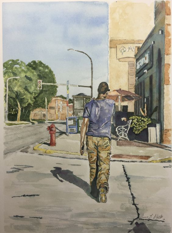 """Second St. Southwest"" Rochester, MN by V. Stark 9x11"" watercolor, pencil & Elegant Writer pen on hot press #art #watercolor #figure #Minnesota"