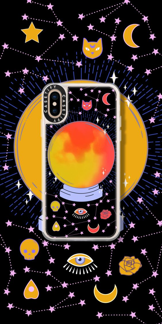 Neon Iphone Xs Case Crystal Ball On Black Background