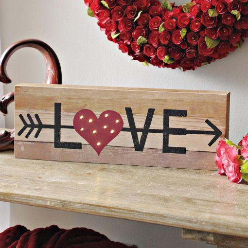 Light Up This Valentines Day With Our Pre Lit Wooden Love Sign The Wood Plank Design And Small Ligh Valentine Wood Crafts Valentines Sign Valentine Day Crafts