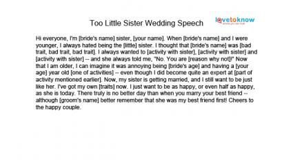 Maid Of Honor Speeches For Sisters