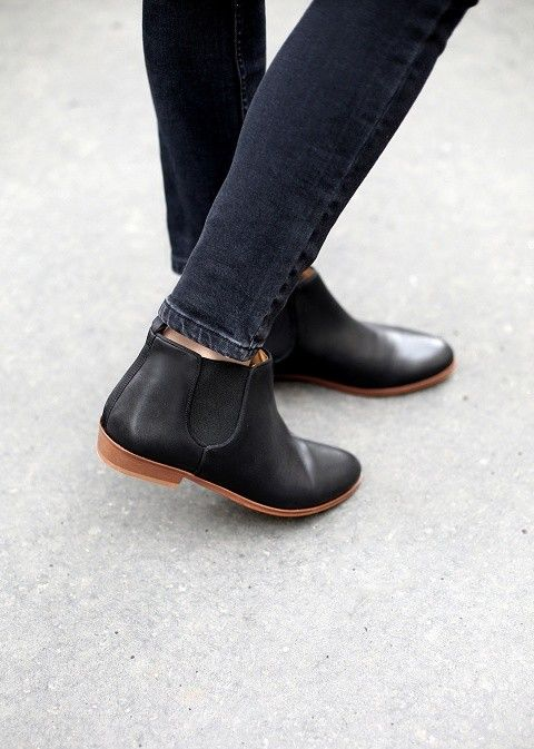 no heel genuine leather black ankle chelsea boots - flat shoes