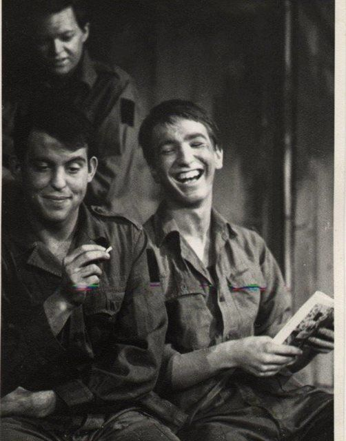 """playing the part of a private in """"The Long and The Short and the Tall"""" age 17 or 18, Latymer Upper School, class of 1964 (on right):"""