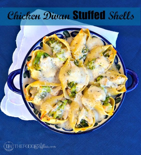 Chicken Divan Stuffed Shells in Dijon Sauce is made without any canned ingredients, mayonnaise or sour cream. This mouthwatering dish can me made with stock ingredients.